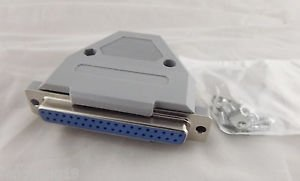 DB37 Female Jack 37 Pin 2 Rows D-SUB Connector Grey Plastic Hood Cover Backshell