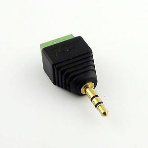 """3.5mm 1/8"""" Stereo Male Plug To AV Screw Video AV Balun Terminal Plug Adapter"""