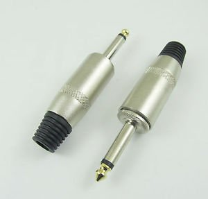 """Audio Microphone Cable 6.35mm 1/4"""" Mono Jack Male Metal Plug Connector Adapter"""