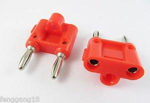 2x Dual Double Nickel 4mm Banana Plug Speaker Audio Connector Screw Type Red
