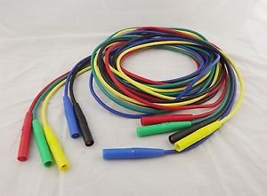 5pcs Banana 4mm Male Test Probes Silicone Insulated Cable Multimeter 5 Colors 2m