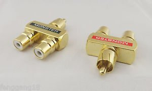 2pcs RCA Audio Y Splitter Plug 1 Male To 2 Female Gold Plated Adapter Connector