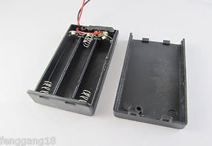 1pcs 3x AAA 3A 4.5V Cell Battery Holder Box Case With Switch 6'' Lead Wire Black