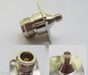 N Female Jack 4 Holes Flange To SMA Female Jack Straight RF Connector Adapter