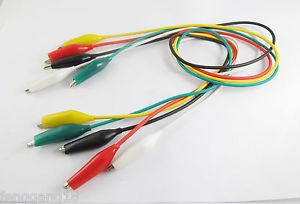 5pcs Probe Dual M 35mm Alligator Clip Clamp Test Lead Cable 5 Colors 50cm Long
