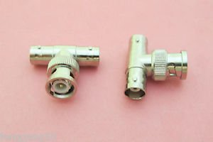 T Shape BNC Male Plug to Double 2 BNC Female Splitter Adapter Connector
