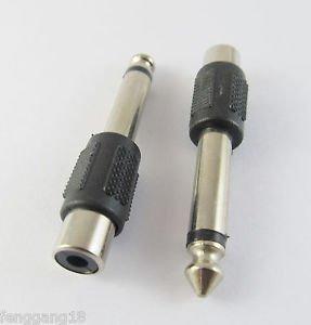 "20 Pcs 6.3mm 1/4"" Male M Plug Mono to RCA Female F Jack Audio Adapter Converter"