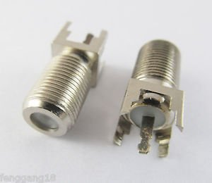 F Type Female PC Board PCB Mount Straight RF coaxial TV PAL Antenna Connector