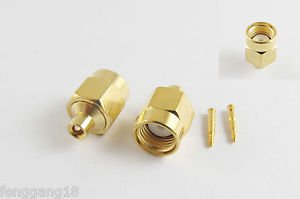 "100pcs SMA Male Plug Solder For Semi-Rigid RG405 0.086"" Cable RF Connector"