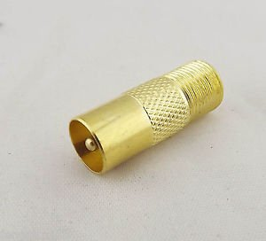 Golden F Female Jack to TV PAL Male Plug Straight Coaxial RF Connector Adapter