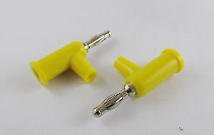 10 Pcs Yellow Speaker Banana Male Plug Screw Connector Adapter Converter