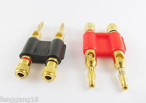 2pcs Gold Plated Dual Speaker Banana Plug Connector Adapter Black Red Color
