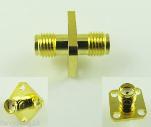 SMA Female 4 Holes Panel Flange to SMA Female Straight RF Adapter Connectors SH