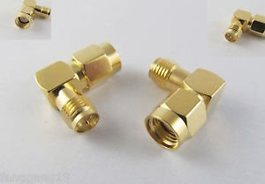2x RP-SMA Male To RP-SMA Female Plug Right Angle 90 Degree RF Connector Adapter
