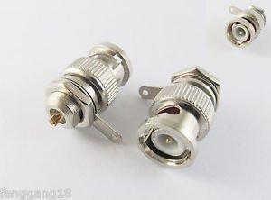 10x BNC Male Plug With Nut Bulkhead Sraight Solder Cup Deck Mount RF Connector
