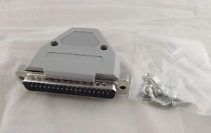 DB37 Male Plug 37 Pin 2 Rows D-SUB Connector Grey Plastic Hood Cover Backshell