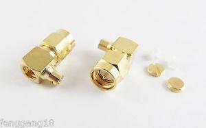 """5x SMA Male Plug Right Angle Solder Semi-Rigid RG405 0.086"""" Cable RF Connector"""