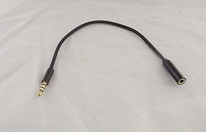 """3.5mm 4 Pole 3 Ring 1/8"""" Male to Female TRRS Audio Aux Adapter Convertor Cable"""