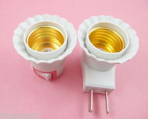 LED Light Bulb Lamp Socket Base Holder E27 to US AU Plug Adapter Converter
