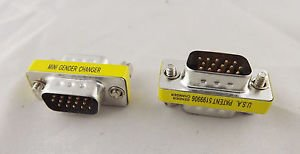 10pcs VGA/SVGA 15 Pin DB15 Male To Male D-SUB 3 Rows Mini Gender Changer Adapter
