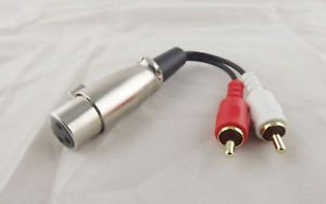 Red Whited 2 RCA Male To XLR Female Jack Stereo Audio Speaker Amp Y Cable 15cm