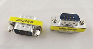 10x DB9 RS232 9 Pin Male To Male Mini Gender Changer Convertor Adapter Connector
