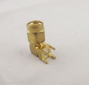 SMA Male Plug Right Angle Solder for PC Board PCB Mount Coaxial Connector Gold