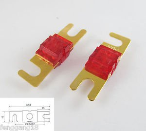 10pcs Gold Plated Car Audio AFS Mini ANL Fuse Auto Stud Fuses 32V 50A 50AMP