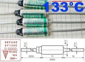 1Pcs Microtemp Thermal Fuse 133°C 133 Degree TF Cutoff SF129E 10A AC 250V New