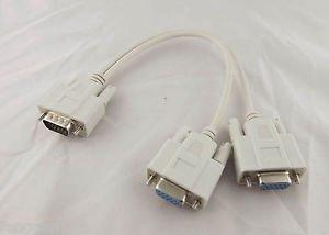 VGA Male 15 Pin To Dual VGA SVGA Female Adapter Cable Splitter PC Monitor Video