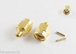 "5pcs RP-SMA Male Jack Center Solder Semi-Rigid RG405 0.086"" Cable RF Connector"