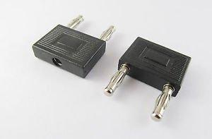 1 Pcs Dual 4mm Banana Plug to Single 4mm Jack Audio Square Converter Adapter