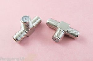 10pcs F Female To Two Dual F Female Jack Triple T RF TV CCTV Adapter Connector