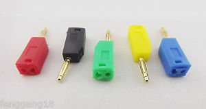 5x Gold Copper Radioshack Stackable 2mm Mini Banana Plug Connector 5 Colors