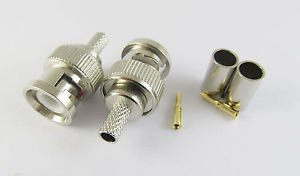 100x 3 Piece BNC Male Plug Crimp RG58 RG142 RG400 LMR195 RG223 Coaxial Connector