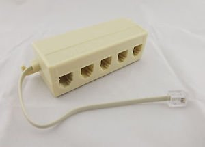RJ11 5 Way Outlet Phone Modular Jack Telephone Line Adapter Splitter Connector