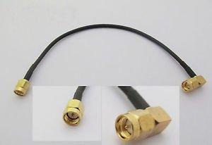 SMA Male Plug to SMA Male Plug Right Angle Crimp RG174 Cable Jumper Pigtail 15cm