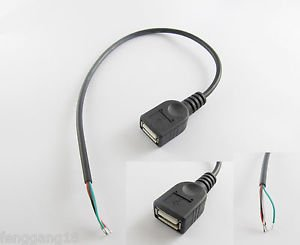 10x USB 2.0 A Female Jack 4 Pin 4 Wire Data Charge Cable Cord Connector DIY 30cm