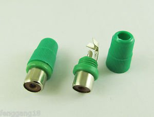 New Green Solder Type RCA Phono Female Jack Audio Video Cable Adapter Connector