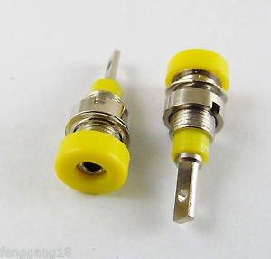 10x Yellow Multimeter Instrument 2mm Binding Post Banana Panel Mount Test Probe