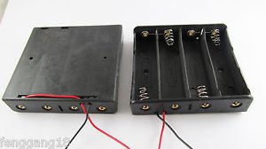 "5pcs Plastic Battery Storage Case Box Holder 4 X 18650 Black with 6"" Wire Leads"