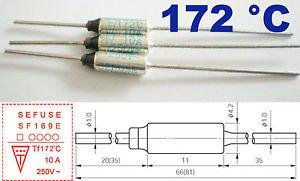 5Pcs Microtemp Thermal Fuse 172°C 172 Degree TF Cutoff SF169E 10A AC 250V New