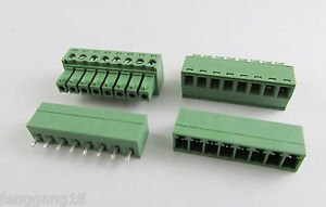 10x 8 Pin/Way Pitch 3.81mm Screw Terminal Block Connector Green Pluggable Type