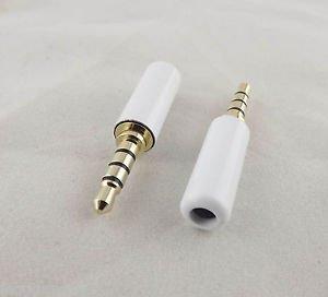 "10pcs White 3.5mm 1/8"" 4 Pole Male TRRS Repair Headphone Metal Audio Soldering"