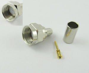 50x F Male Plug Straight Crimp RG58 RG142 RG400 LMR195 RG223 RF Connector Nickel