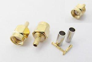 100x SMA Male Plug Straight Crimp for RG174 RG179 RG316 RG188 Cable RF Connector