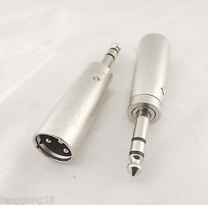"""5pcs XLR 3 Pin Male To 6.35mm 1/4"""" Stereo Male Microphone Mic/AMP Audio Adapter"""