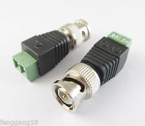 10 Pcs New Coax CAT5 To CCTV Coaxial Camera BNC Male Plug Video Balun Connector