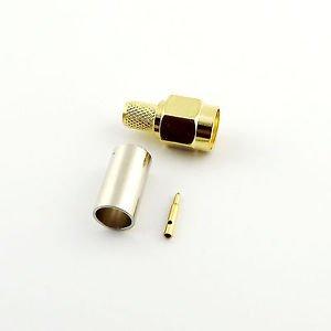 1pcs SMA Male Plug Straight Crimp for RG58 RG142 RG223 RG400 LMR195 RF Connector
