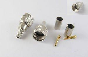 10 Pcs Mini UHF Male Plug Crimp For RG58 RG142 RG400 LMR195 Connector New